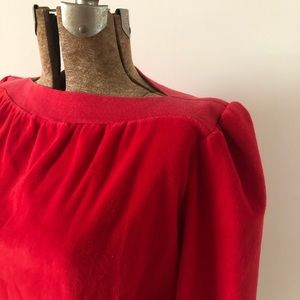 Red Velour Boatneck Top